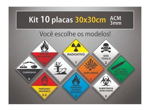 placa rótulo de risco - 30x30cm - acm 3mm - kit 10 unid