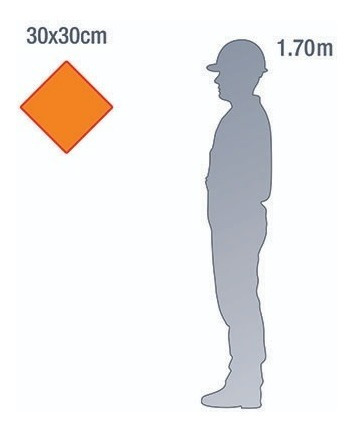 placa rótulo de risco - 30x30cm - acm 3mm - kit 6 unid