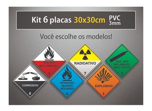 placa rótulo de risco - 30x30cm - pvc 3mm - kit 6 unid