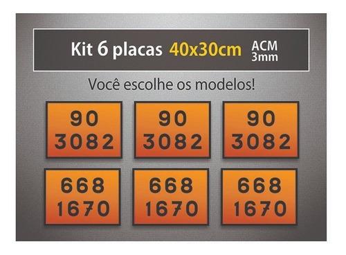 placa rótulo de risco e onu - 40x30cm - acm 3mm - kit 6 unid