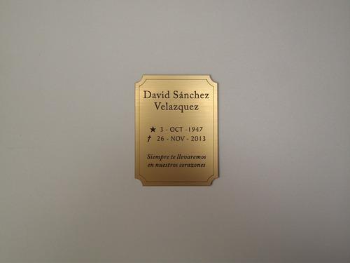 placa rowmark dorada o plateada grabada 8x4cm, 1.3 mm grosor