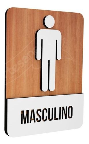 placa sinalização indicativa banheiro mdf masculino