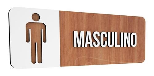 placa sinalização indicativa banheiro mdf masculino especial
