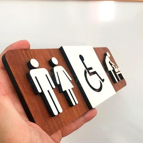 placa sinalização indicativa banheiro unissex deficiente