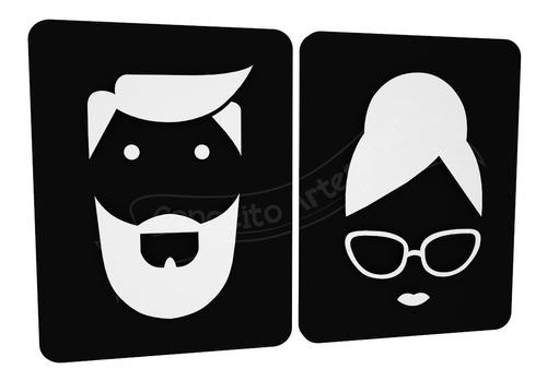 placa sinalização preta banheiro homem mulher restaurante