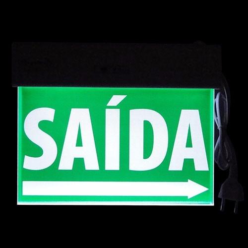 placa sinalização saída emergência led verde acrílica df
