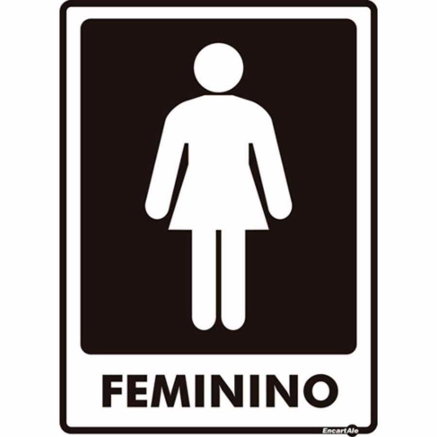 Placa Sinalizadora Banheiro Feminino Preto Multiusos  R$ 19,90 em Mercado Livre -> Avisos Banheiro Feminino