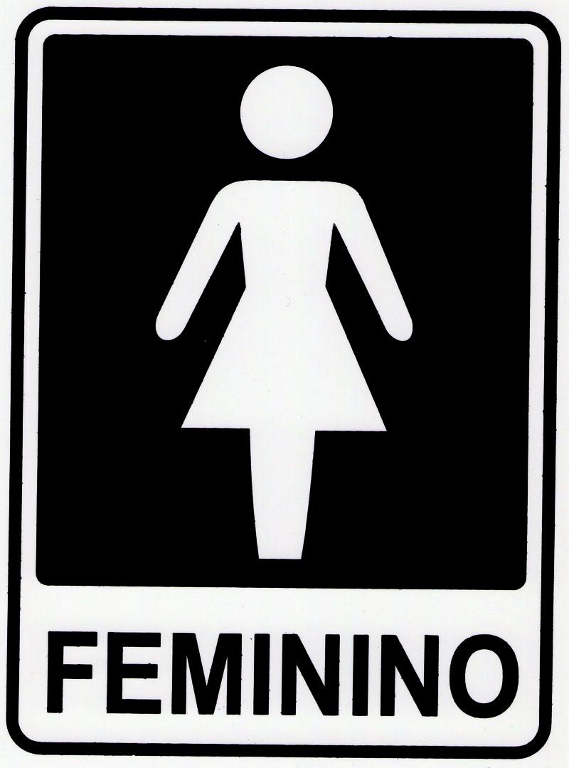 Placa Sinalizadora Banheiro Wc Feminino Mulher 19,5×14,5cm  R$ 3,99 em Merca -> Wc Banheiro Feminino