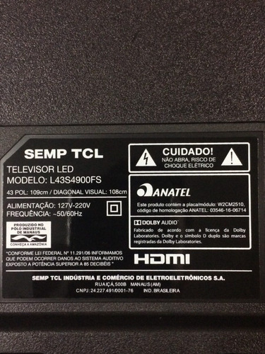placa t-con com flats tv tcl semp l43s4900fs
