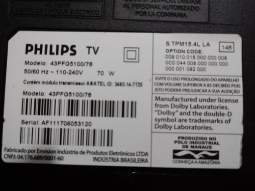 placa t con philips modelo 43pfg5100/78