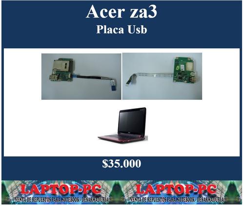 placa usb  + lector tarjetas acer za3