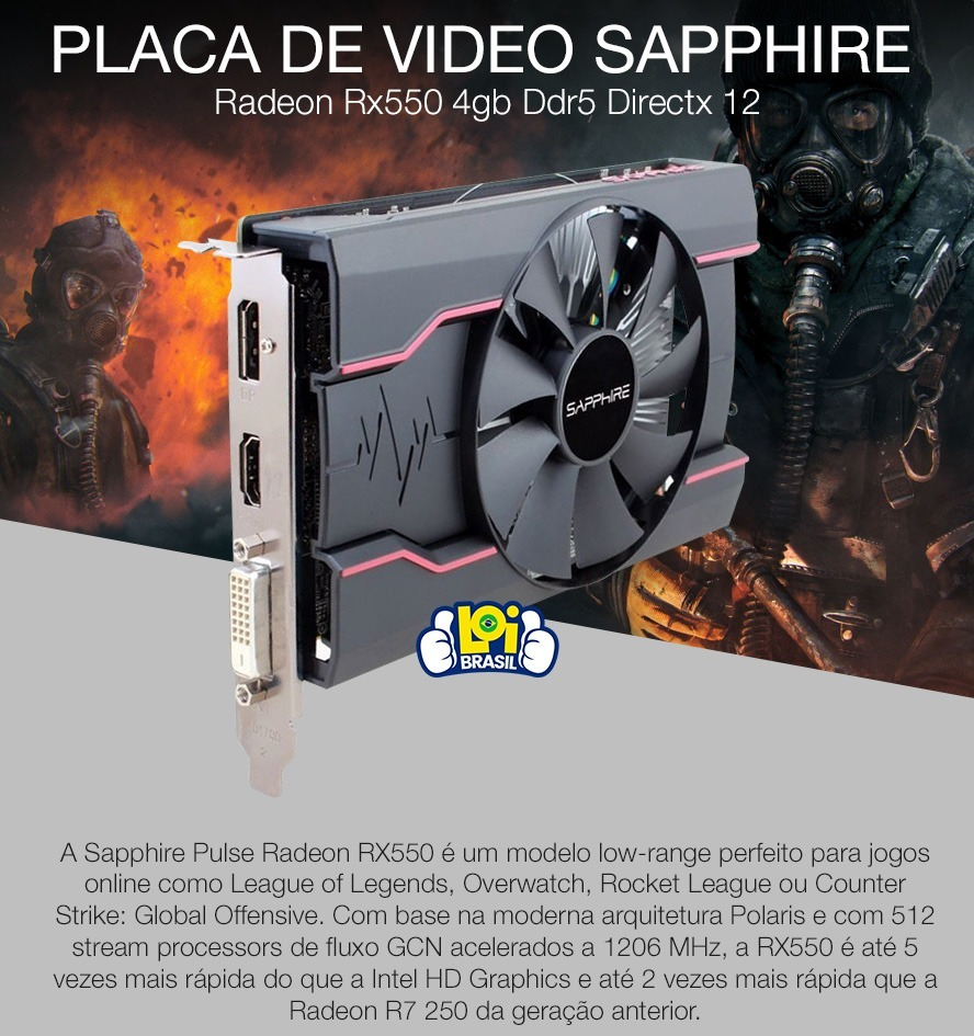 Placa De Video Sapphire Radeon Rx550 4gb Ddr5 Directx 12 R 87799 Pulse Carregando Zoom