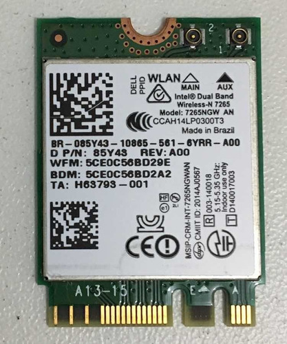 placa wi-fi dual band original dell 5480 + bluetooth 4.0