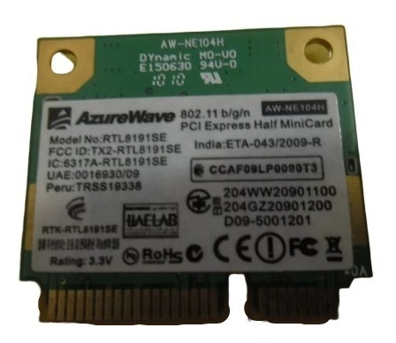 placa wifi azurewave rtl8191se notebook commodore ke8327