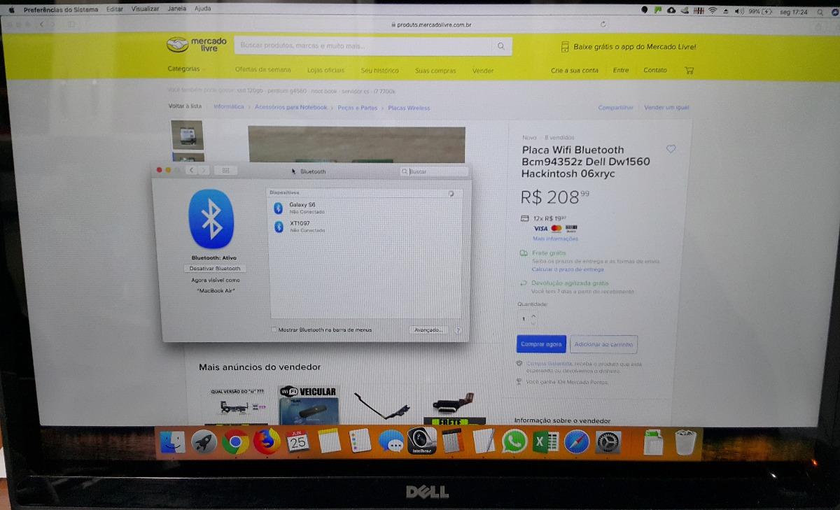 Placa Wifi Bluetooth Bcm94352z Dell Dw1560 Hackintosh 06xryc