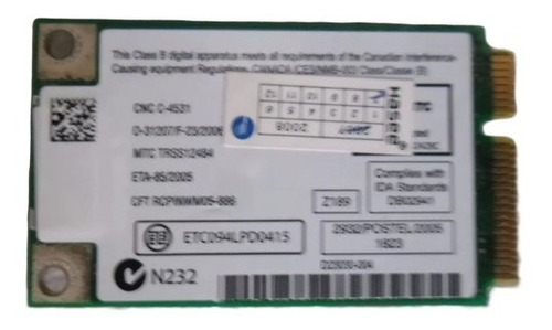 placa wifi intel wm3945abg para notebook grundig f440s