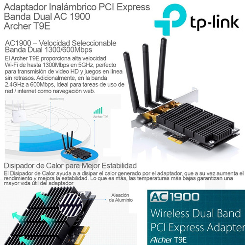 placa wifi red pci-e tp-link archer t9e ac1900 dual band