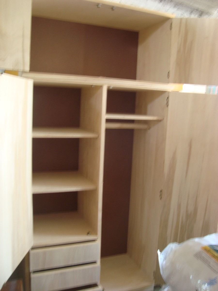 Placar de 2 puertas en crudo estilo campo madera for Puertas de madera para dormitorios
