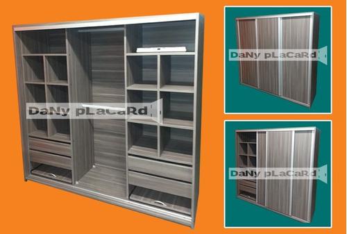 placard 2 ancho doble torre - melamina color rieles aluminio