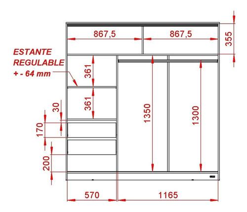 placard 2 puertas corredizas ropero 1,80 mts. guía metálica