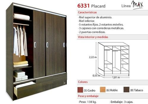 placard 3 puertas corredizas - ropero muebles