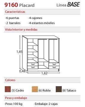 placard 6 puertas de abrir cedro - platinum 916 ® cajones