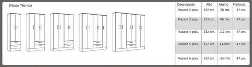placard armario tana 4 puertas 2 cajones varios colores