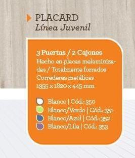placard juvenil orlandi colores melamina corredera metalica