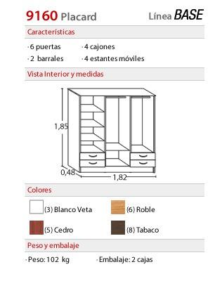 placard platinum - 6 puertas/4 cajones 9160