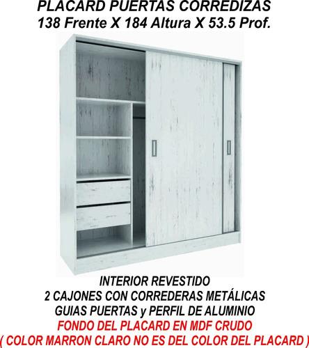 placard puertas corredizas 1,38 guia metalica suave envios