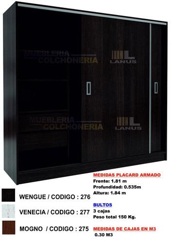 placard puertas corredizas 1,82 m guia metalica suave envios