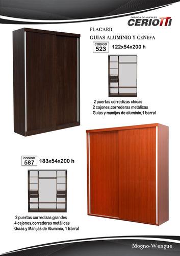 placard ropero 2 puertas corredizas- 4 caj. cod. 587- 1.80mt