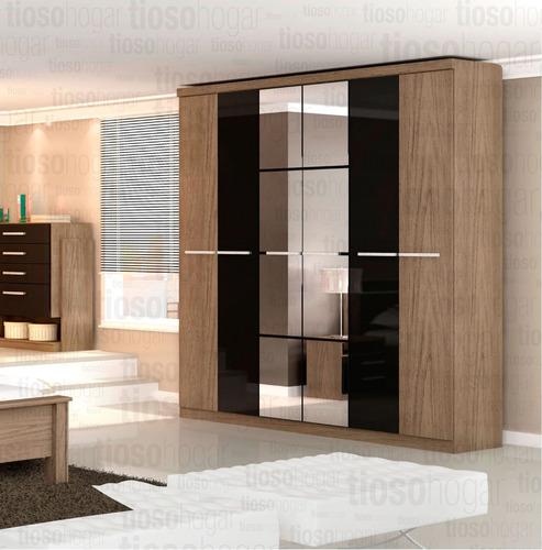 placard ropero 6 puertas cajones espejo melamina diseño lujo