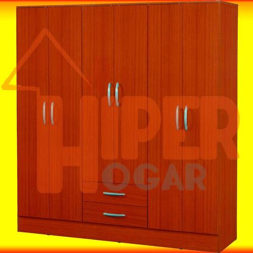 placard ropero 6 puertas y 2 cajones de melamina mosconi