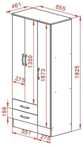 placard ropero 87cm 3 puertas 2 cajones melamina mosconi