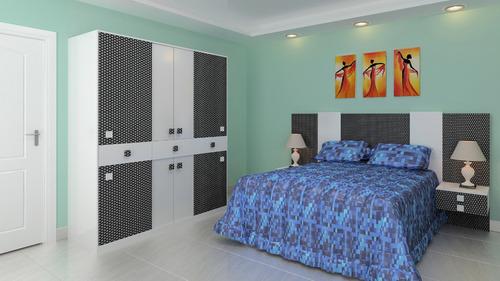 placard ropero dormitorio 2 cuerpos blanco/negro