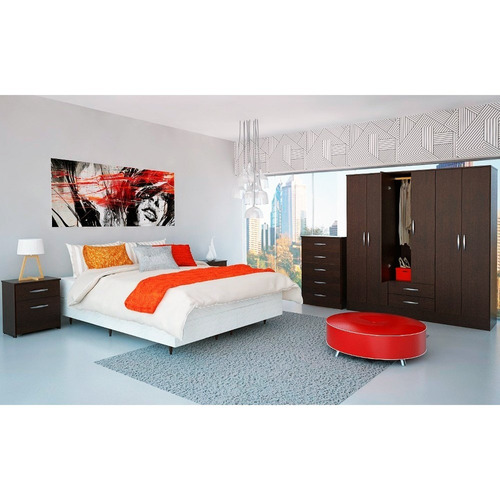 placard ropero economico 6puertas 2cajones melamina w dormi