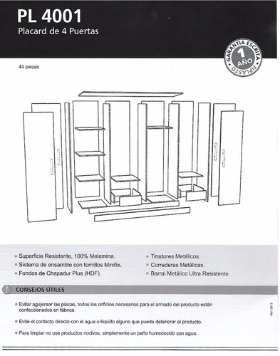 placard ropero melamina 4 puertas 1.80 y 4 cajones pl-4001
