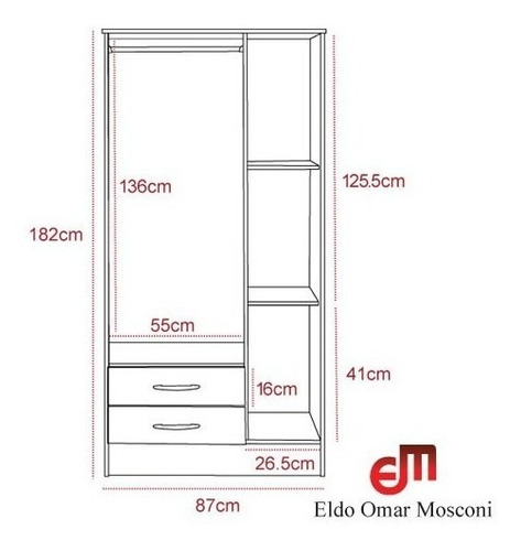 placard ropero mosconi 3 puertas 2 cajones