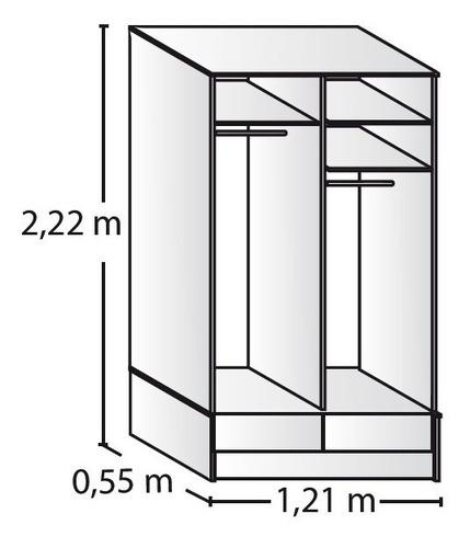placard ropero platinum 6320 1,2 mts puerta corrediza