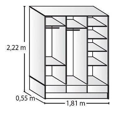 placard ropero platinum 633 1,80 mts puerta corrediza