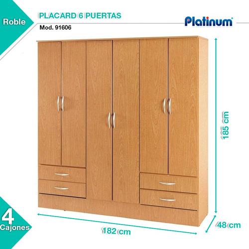 placard ropero platinum modelo 916 6 puertas y 4 cajones