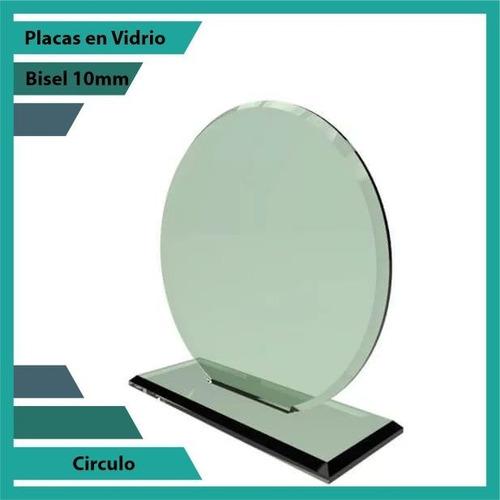 placas conmemorativas en vidrio forma  círculo plano