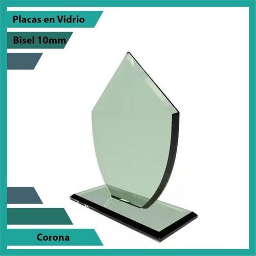 placas conmemorativas en vidrio forma  corona plano