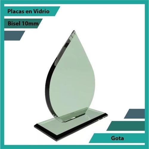 placas conmemorativas en vidrio forma gota plano