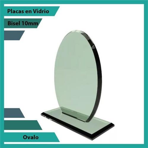 placas conmemorativas en vidrio ovalo plano