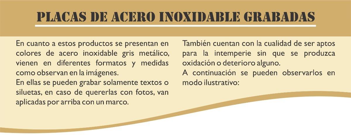Placas De Acero Inoxidable Grabadas Con Laser - $ 282,00 en Mercado ...