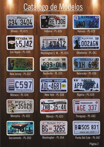 placas de carro americano - reproduções alto relevo réplicas