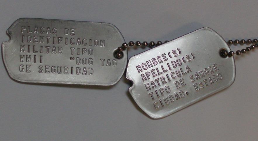 Placas De Identificacion Militar Tipo Segunda Guerra Mundial ...