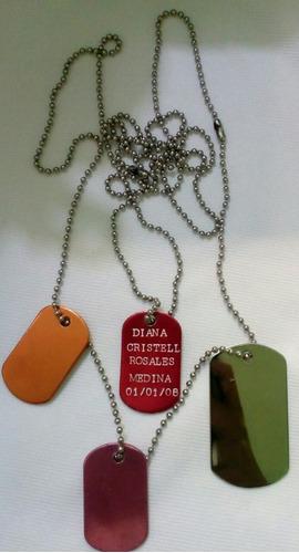 placas de identificación tipo militar y escolar
